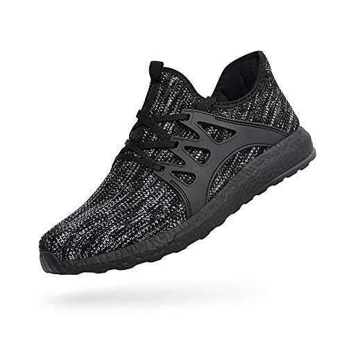 Troadlop Womens Sneakers Ultra Lightweight Knitted Running Tennis Shoes Athletic Casual Non Slip Walking Work Out Shoes, Gray-Black-7 US