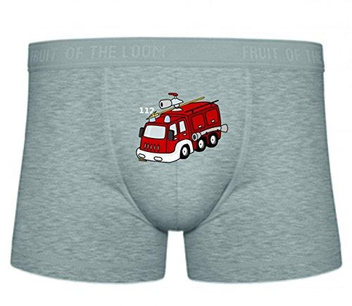 Druckerlebnis24 Boxershort Feuerwehrauto- ROT- Notfall- Fahrzeug- Rettung- Feuer- FEUERWEHRMANN- WECKER- Sirene- Schlauch- Gefahr- Hilfe S- XXL Sexy Unterhose Slip Shorts