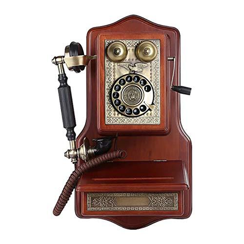 ZARTPMO Retro Estilo Antiguo botón de marcación giratoria teléfono de Escritorio Oficina en casa teléfono-montado en la Pared