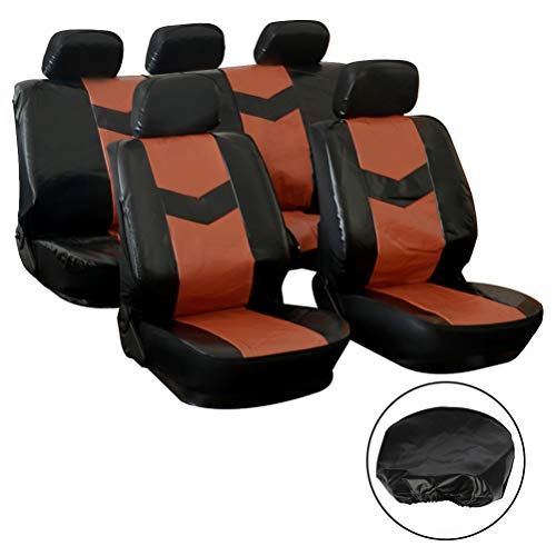 SCITOO Universal Black/BrownCar Seat Covers W/Headrest 9PCS Breathable PVC Leather Seat Cushion Replacement for Most Cars