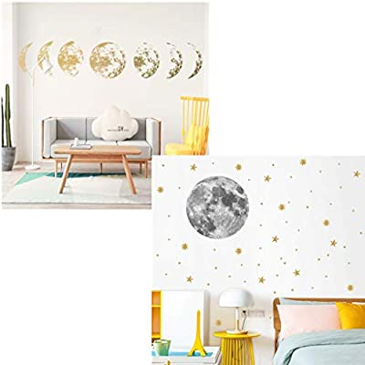AGUIguo Creative Color Moon Phase Map Space Moon Wall Sticker Home Decoration, Removable Mural Decal Art Home Decor Painting Supplies