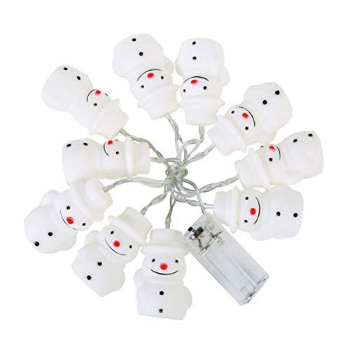 BESTOYARD LED Schneemann Lichterketten mit 10 Glühbirne für Weihnachtsfeier (Warm Weiß)