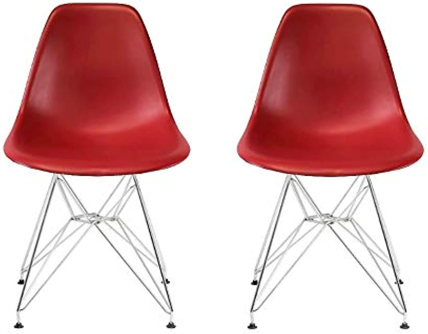 Take Me Home Furniture Eames Style Side Chair with Chrome Legs Eiffel Dining Room Chair - Set of 2 (Red)