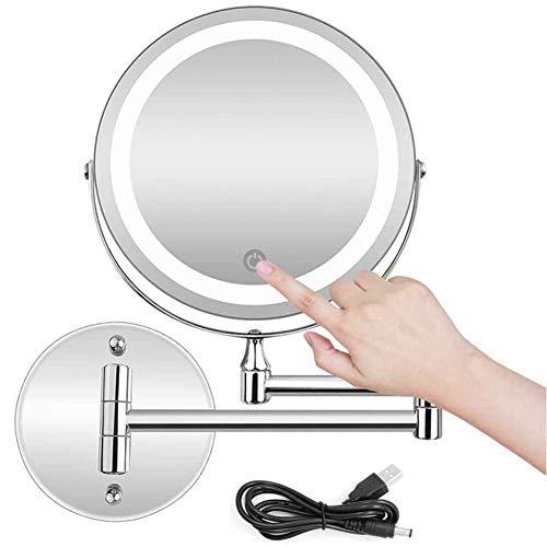 MRJ Vergrößerungsspiegel 10x, LED Wandmontage Zweiseitig Beleuchteter Kosmetikspiegel 10-fache Vergrößerung USB Wiederaufladbare Touchscreen Dimmbarer Make-Up-Spiegel