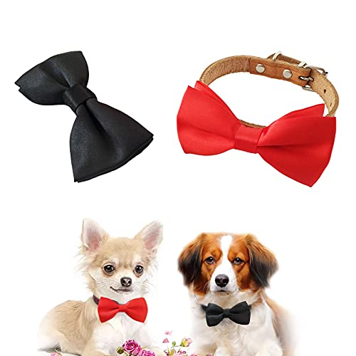 JpGdn 2pcs 3.8x2 Black Red Small Dogs Collar Attachment Bows Ties for Puppies Cats Wedding Birthday Party Collars Bowties Sliding Bows Neckties Grooming Accessories Costumes