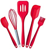 AVANA Silikon Küchenhelfer Set, 5 Stück Küchenutensilien Hitzebeständig Kochen Antihaft Kochgeschirr Schneebesen, Spachtel, Backpinsel, Pfannenwender (Rot)