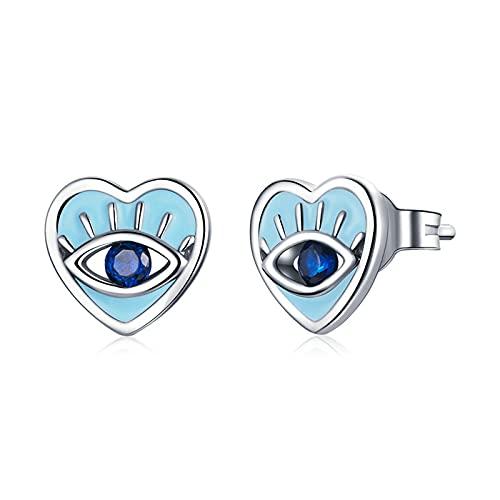 HMMJ Pendientes de botón en Forma de corazón con Ojos de Diablo Retro hipoalergénicos de Plata esterlina S925 para Mujer SCE1134