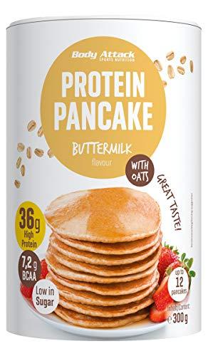 Body Attack Protein Pancake Mix, Eiweißpulver für Pfannkuchen mit 35% Protein, schnell und leicht abnehmen mit der Low Sugar Backmischung (Buttermilch mit Haferflocken, 1 x 300g)