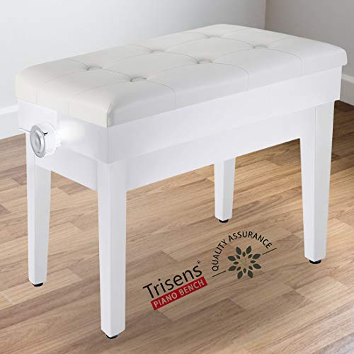 Adjustable Piano Bench Wooden Piano Stool with Music Storage & Height Adjustable- PU Leather and Solid Wood (White with Music Storage)