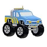 MAXORA Monster Truck Blue Personalized Christmas Ornaments Big Wheel Truck Gift for Kids Children Grandson