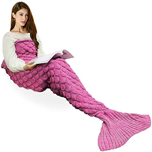 yashidali Wearable Mermaid Tail Blanket Crochet, All Seasons Warm Knitted Bed Blankets Sofa Living Room Quilt for Kids and Adults, Fish-Scales Pattern, 70.9 x 35.5 (180 x 90cm), Pink