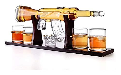 ZKDY Juego de decantadores de Whisky, decantador de Armas AK47, con Soporte de Madera y 4 Balas, para Vino, Brandy, borbón, escocés y Licor Decantador de Whisky