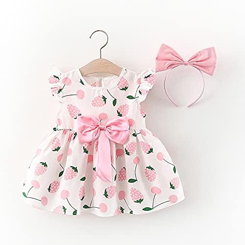 IMEKIS Conjunto de ropa de verano para bebé, con mangas con volantes, bonito estampado de lazo, vestido con cinta para la cabeza, princesa, cumpleaños, casual, fiesta Rosa. 6-12 Meses