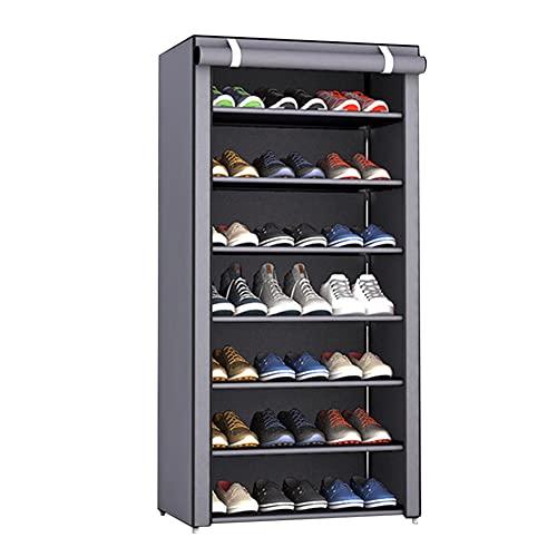 fuguzhu Estante para Zapatos De 7 Niveles con Tapa Antipolvo, Almacenamiento De Zapatos Estante para Zapatos, Organizador para Calzados Deportivos Y Tacones Altos, 60 X 30 X 123 Cm (Gris-Plata)