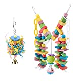 Wooden Parrot Toys Colorful Wood Birds Standing Chewing Climbing Swing Stairs Ball Toys Gift 2Pcs