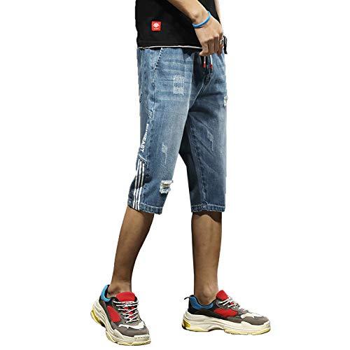 Pantalones Cortos de Mezclilla elásticos Delgados Casuales Rectos de Verano para Hombre Pantalones cómodos de 7 Puntos a la Moda XXL