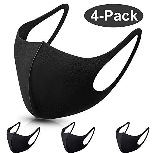Vivibel 4 Stück Schwarz Baumwolle Masken Staubmaske Unisex Wiederverwendbar Mundschutz Maske
