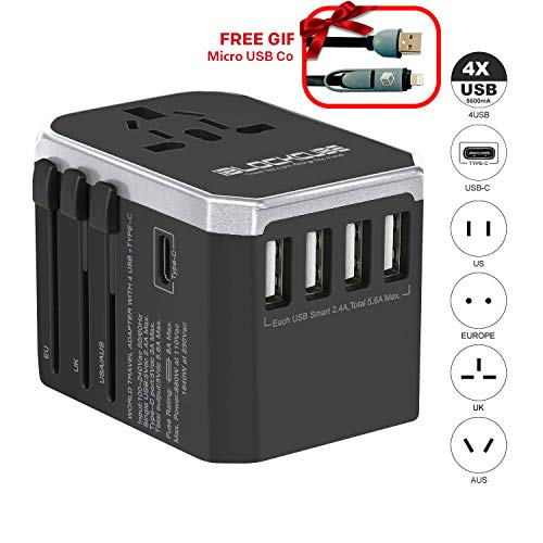 iBlockCube Worldwide Travel Adapter, Dual USB Ports Universal Surge Protection Most Powerful Fast Charging International Power Adapter Dual Fuse UK USA EU AU Asia China Ireland Thailand 250+ Countries