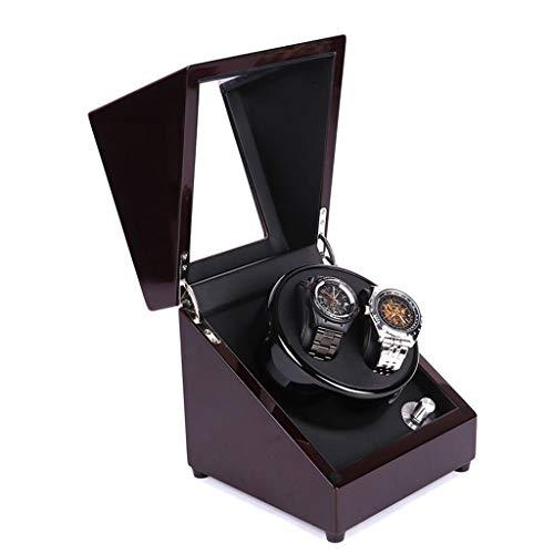 QLL Due Posti Lussuoso Watch Winder Scatola, Legno Pianoforte Meccanismo Silenzioso, 5 Velocità, Per 2 Orologi da Polso Orologio Massiccio Scatola Organizzatore (Color : Brown-Black-18x18x19.7cm)