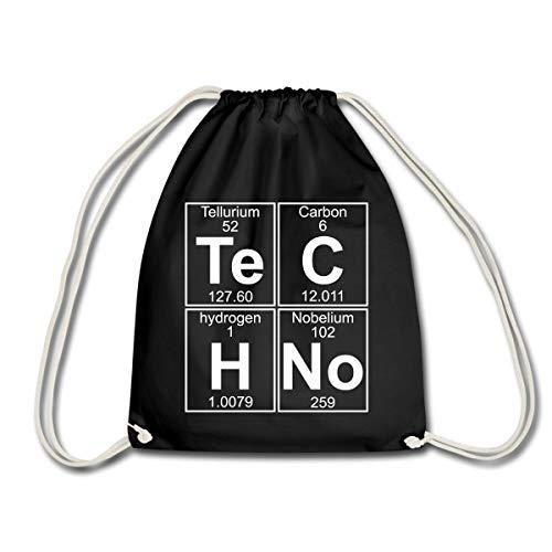 Spreadshirt Techno Chemie Periodensystem Te C H No Turnbeutel, Schwarz