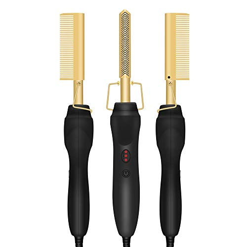 Gold Plated Heated Styling Comb Electric Hot Straightening Heat Pressing Comb Ceramic Curling Flat Iron Curler Designed Hair Straightener Curling Iron for Natural Black Hair,Wigs,Beards (Gold)