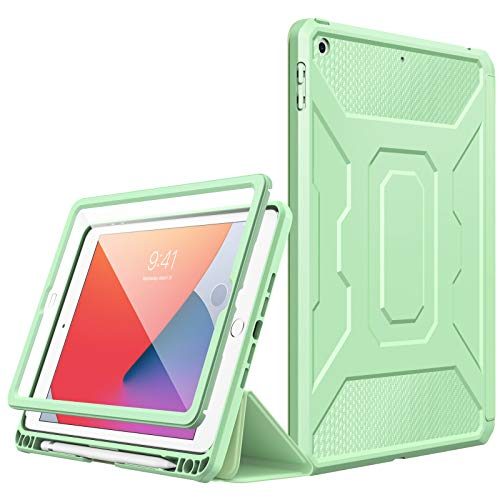 MoKo Case Fit New iPad 8th Gen 2020 & 7th Gen 2019 / iPad 10.2' Case, [Built-in Screen Protector] Full-Body Protection Shockproof Case Smart Trifold Cover with Auto Sleep/Wake & Pencil Holder,Green