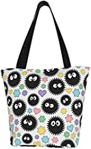 antcreptson Soot Sprites & Candies Canvas Tote Bag Casual Shoulder Handbag with Zipper Grocery Shopping Women Bags