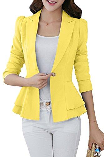 YMING Women's Classic Blazer and Jacket One Button Blazer Yellow L