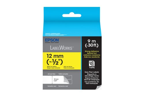 Epson LabelWorks Strong Adhesive LC Tape Cartridge ~1/2-Inch Black on Yellow (LC-4YBW9)