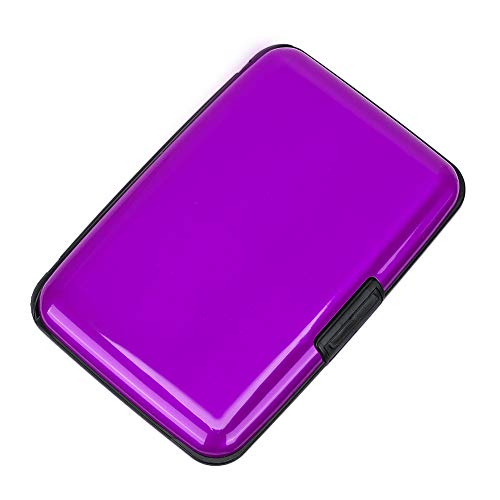 Elfish RFID Blocking Credit Card Protector Aluminum ID Case Hard Shell Business Card Holders Metal Wallet for Men or Women (Dark purple)