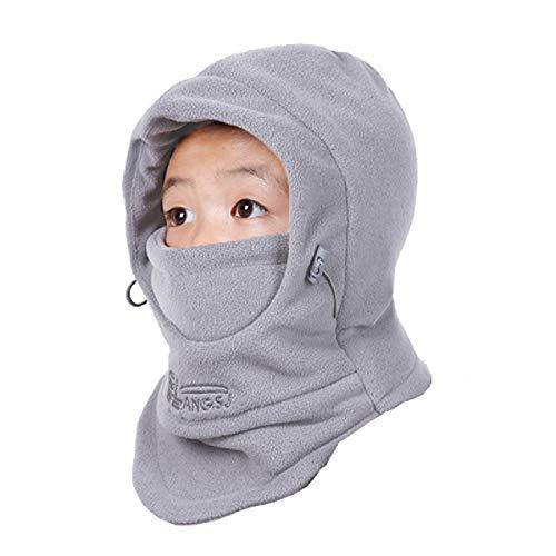 TRIWONDER Pasamontañas Sombrero Máscara de esquí Clima Frío Mascarilla Cuello Calentador de Nariz de Invierno para Niños (Gris Claro)