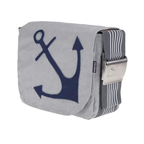 Segeltuchtasche CANVASCO Urban L/Tasche grau/Gurt grau-weiß/Motiv Anker blau