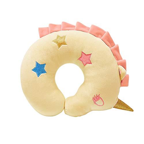 H HOMEWINS Reisekissen Kinder Nackenkissen Süß Reisen Nackenhörnchen Waschbar Kopfstütze Nackenstütze für Babyschale Autositz (Gelb Einhorn)