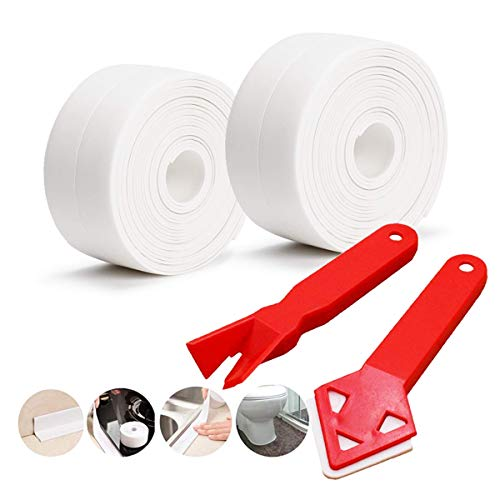 Caulk Strip, 10.5 ft Self Adhesive Caulking Seal Tape+2 Caulking Tool Bathtub Bathroom Kitchen Shower Toilet and Wall Sealing
