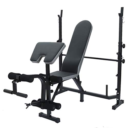 Multifunctional Workout Station Adjustable Olympic Workout Bench with Squat Rack, Leg Extension, Preacher Curl, and Crunch Handle (B)