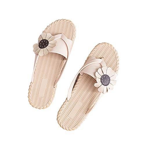 ZMDSGZ Sandalen Flip Flops PVC Flip Flops Casual Fashion Frauen Sommer Wohnungen Hausschuhe für Frauen Außerhalb Flip Flops Soft Beach Hausschuhe Sonnenblume-Khaki