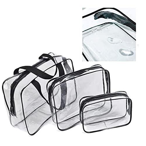 Pochette Trasparente Trucchi 3 Pezzi,borsa trasparente grande, alta qualità Borse per Cosmetici con Zip, Borsa da trucco impermeabile ,Beauty Case da Borsa da Viaggio Donna Uomo Wash Bags Organizer