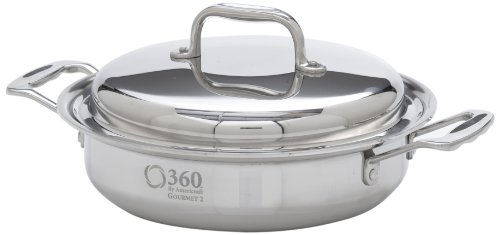 """360 Stainless Steel Saute Pan with Lid, 10"""" Skillet, Handcrafted in the USA, Induction Cookware, Waterless Cookware, Dishwasher Safe, Oven Safe, Surgical Grade Stainless Steel Cookware (2.3 Quart)"""