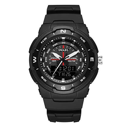 QZPM Reloj Digital Electrónico, para Hombre De La LED Hora Digital Deporte De Multifuction Cronógrafo Impermeable Al Aire Libre Relojes Deportivos Militares,Negro