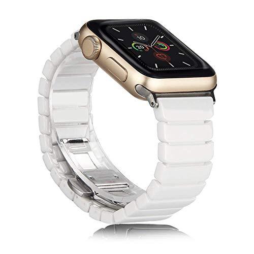 ANBEST Keramik Armband Kompatibel mit Apple Watch 6/5/SE/4 Armband 40mm Ersatzarmband mit Schmetterlingsschließe für Apple Watch Series 3/2/1 38mm Smart Watch(Weiß)