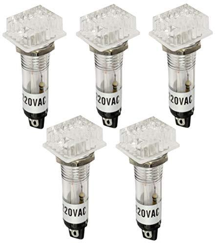 AERZETIX: 5 x Konvexes Licht Kontrollleuchte - 230V AC - Orange Licht Neonlampe Transparenter Körper Ø10mm C43646