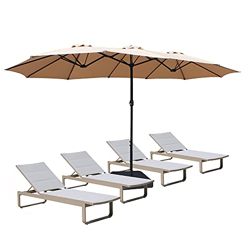 Bigroof 15ft Double-Sided Patio Umbrella Twin Extra Large Umbrella with Crank Handle...