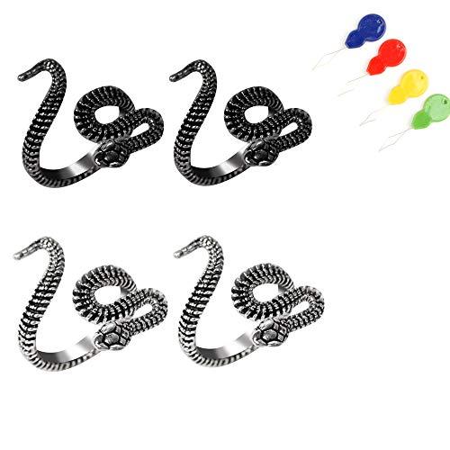4 Pcs Adjustable Crochet Knitting Loop Ring, Snake Ring and Threader,Yarn Guide Finger Knitting Thimble Open Finger Ring for Men Women