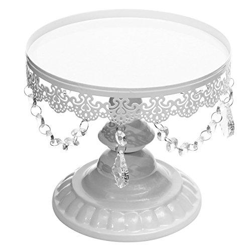 Baogu Vintage Tortenständer Kuchenplatte Tortenplatte mit Kristall für Wedding Party (Weiß, L)