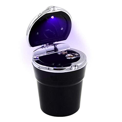 ZSM Cenicero cenicero cenicero cenicero con Cubierta Lámpara LED Lámpara Desinfectable Cenicero Cenicero para Cigarrillos (Color: Plata) YMIK (Color : Black)