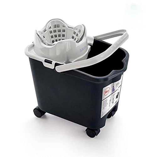 Acan Mery - Cubo de fregona con Ruedas y escurridor automático, Capacidad 14 litros, Color Gris, 30 x 36 x 24 cm