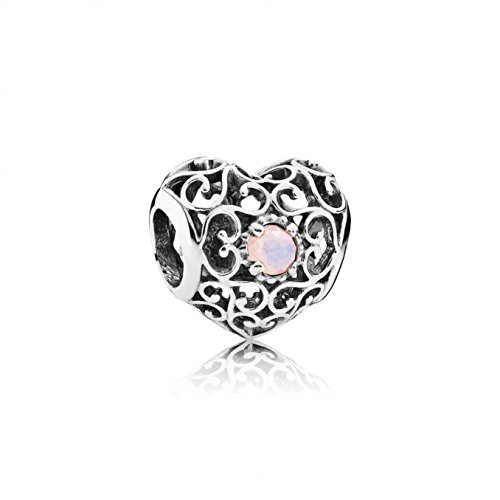Pandora October Signature Heart Charm With Opalescent Pink Crystal 791784NOP