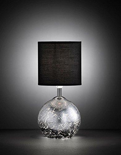 Außergewöhnliche Tischleuchte beleuchteter Korpus Blattsilber Optik G9 E14 Wippschalter Stoffschirm Beistelllampe Schlafzimmer Wohnzimmer