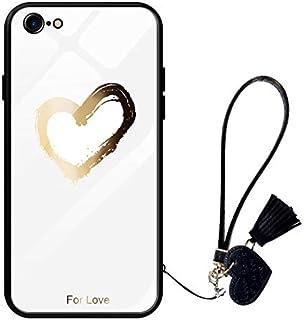 Oihxse Moda Case Compatible para iPhone 7/8 Funda Vidrio Templado con Cuerda Cordón TPU Silicona Suave Bumper Cover Anti-C...