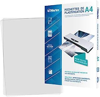 Waytex Pack 100 Feuilles de plastification A4 épaisse 125 Microns Finition Brillante Transparente